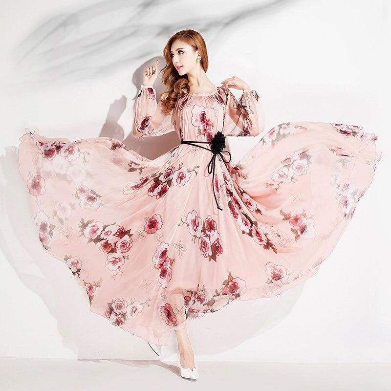 Plage En Mousseline Fit Demoiselle D'honneur Maxi À Maternité Femmes Floral De Robe Manches Soie Loose 2018 Longues VSUMpGqz
