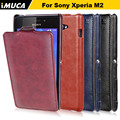 IMUCA Brand For Sony Xperia M2 S50h High Quality PU Leather Simple Style Flip case cover for Sony Xperia M2 Phone Cases