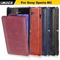 Imuca marca para sony xperia m2 s50h alta calidad pu cuero estilo simple flip case cajas del teléfono cubierta para sony xperia m2