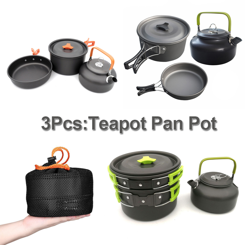 3Pcs Teapot Pan Pot for 2-3 People Outdoor Tableware Camping Pot Pan Kettle Set Familly Picnic BBQ Cookware Cooking Tool