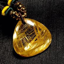 Certificate Natural Gold Rutilated Quartz Titanium Pendant Triangle Gemstone Best Gift 24x24x10mm Crystal Stone AAAAA