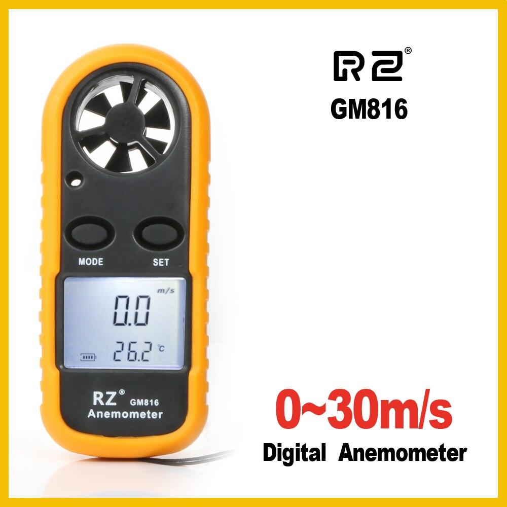 RZ Portatile Anemometro Anemometro Windmeter Misuratore di Velocità del Vento Calibro Termometro GM816 30 m/s LCD Digitale tenuto in Mano strumento di Misura