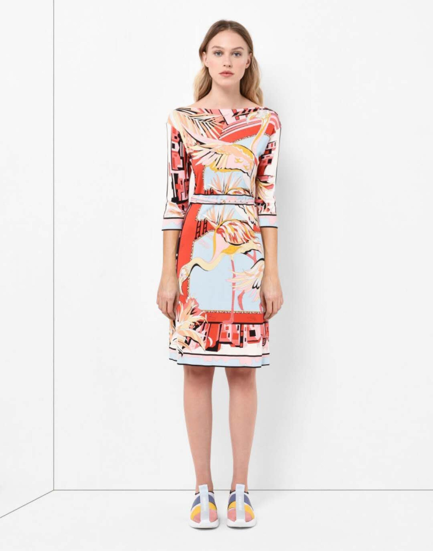 Ladies fashion show beautiful print half sleeve elastic knitted silk jersey slim dress