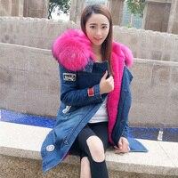 2019 брендовая длинная джинсовая нашивка зимняя куртка женская парка парки меховое пальто большой натуральный мех енота с капюшоном верхняя