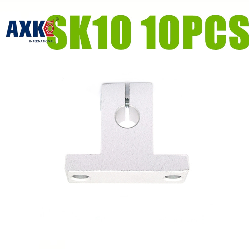AXK  SK10 10mm linear bearing shaft support match use 10mm Linear guide Rail rod round Shaft Support XYZ Table CNC Router SH10A стоимость