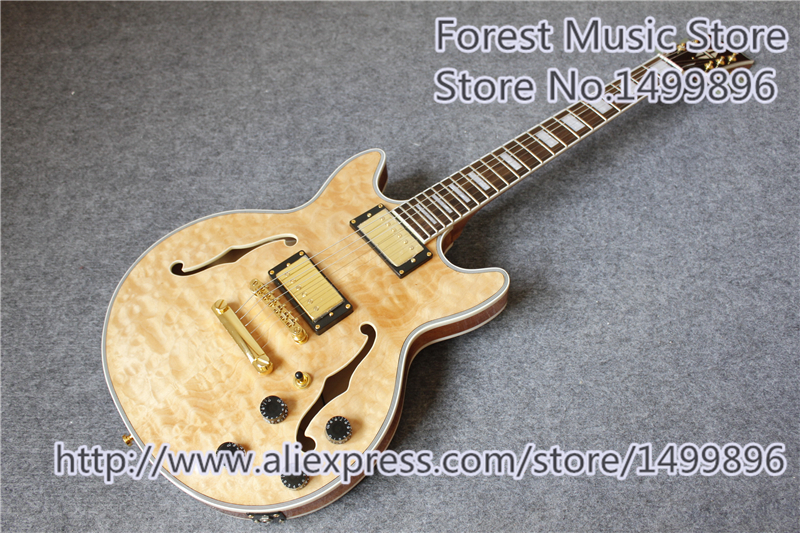 High Quality Nature Wood Quilted Finish Hollow Maple Body ES Electric Guitars With Gold Hardwares