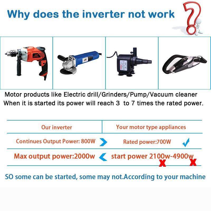 2020 Iwellup 800W Auto Inverter 12v 220v 50Hz Auto Inverter Aluminium Alloy Power Konverter Inverter Peak power 2000W