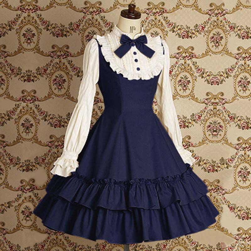 Sweet Girls Vintage Slim Cotton Dress Lolita Women Court Long-Sleeve Bow Tie Ruffled Layered Dress Princess Costume For Ladies