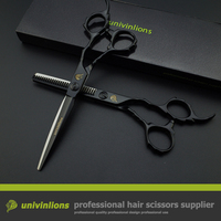 6 univinlions black VG10 professional barber scissors hairdressing cut hairstyle salon clippers japanese hair cutting shears