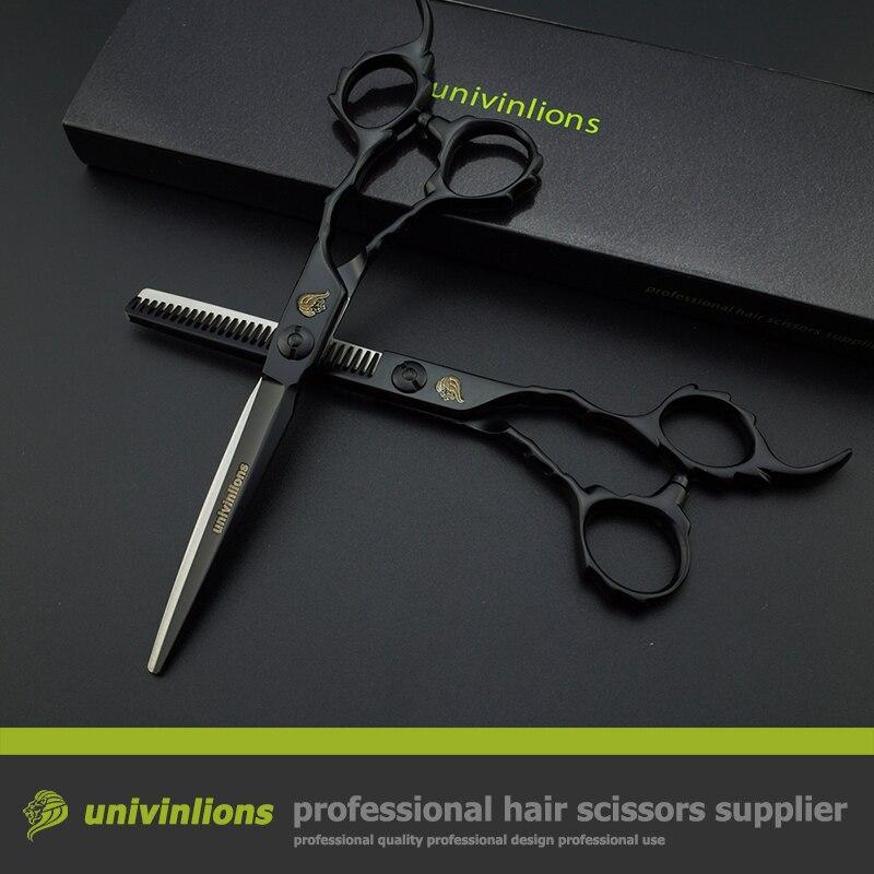 """6 """"univinlions noir VG10 professionnel ciseaux de barbier coiffure coupe coiffure salon tondeuses japonais cheveux coupe cisailles-in Ciseaux de coiffure from Beauté & Santé    1"""