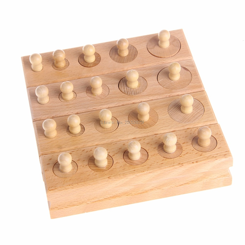 4Pcs /Set Educational Wooden Kid Montessori Math Cylinder Socket Early Learning Development Teaching Toy Gift -B116 kids wooden toys child abacus counting beads maths learning educational toy math toys gift 1 set montessori educational toy