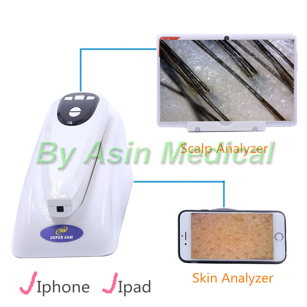 New Arrival WIFI Scalp analyzer 200 times /50 times skin analyzer for mobile phone and I pad high tech ...