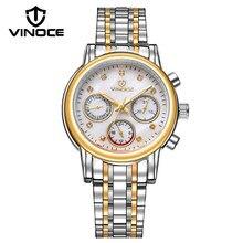 2f4801f549e1 VINOCE 2019 superior de la marca de lujo de cuarzo reloj banda de acero  inoxidable relojes