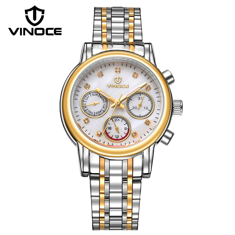 VINOCE 2018 Top Brand Luxury Quartz Watch Women Stainless Steel Band Bracelet Watches Waterproof Relogio Feminino #V6332422L misscycy lz the 2016 new fashion brand top quality rhinestone men s steel band watch quartz women dress watch relogio feminino