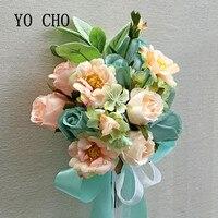 YO CHO Rose Brautjungfer Bouquet Brautsträuße Mariage Für Bräute Rosa Blau Hochzeit Blumen Brautsträuße Brautstrauss-in Künstliche & getrockneten Blumen aus Heim und Garten bei