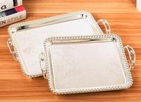 Rectangle gold/Silver Dessert plate cake tools Cake decoration tray Beads decor with handles metal severing tray FT044