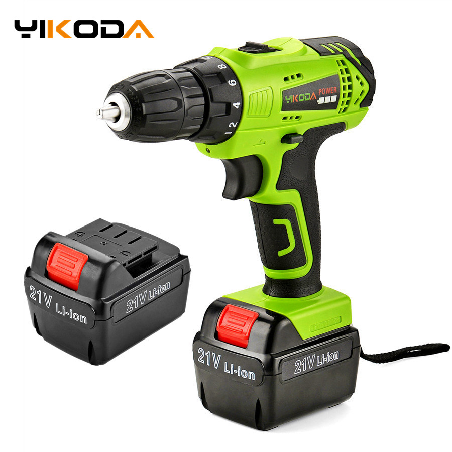 21V Electric Drill Household Multi function Electric Screwdriver Battery Double Speed Lithium Cordless Drill Power Tools