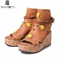 Prova Perfetto 2018 Spring Summer New Genuine Leather Flower Wedge Women Sandals Shoes Appliques Rivet Platform Shoes Femininos