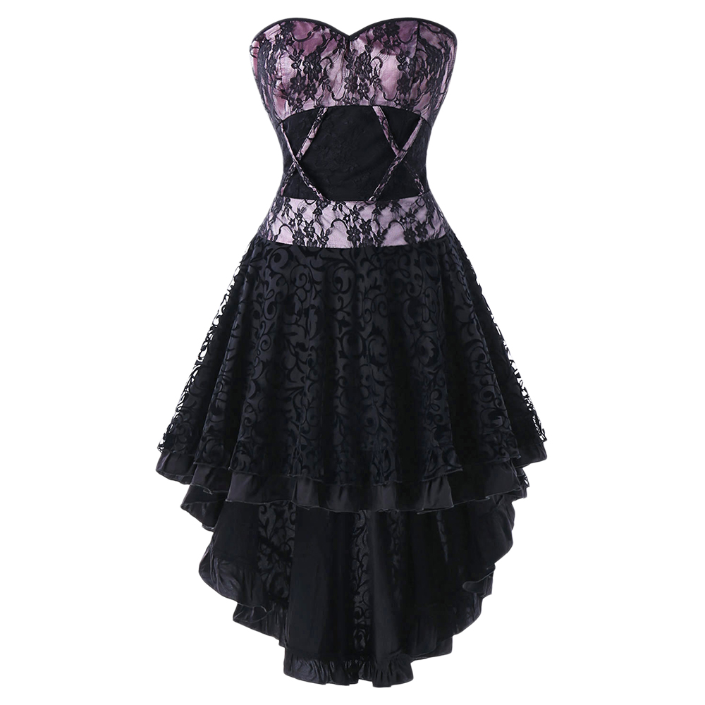 Lace Up High Low Hem Corset Dress Gothic Style Strapless Lace Floral Short Party Dress Cosplay Vintage Vestidos Mujer 2018