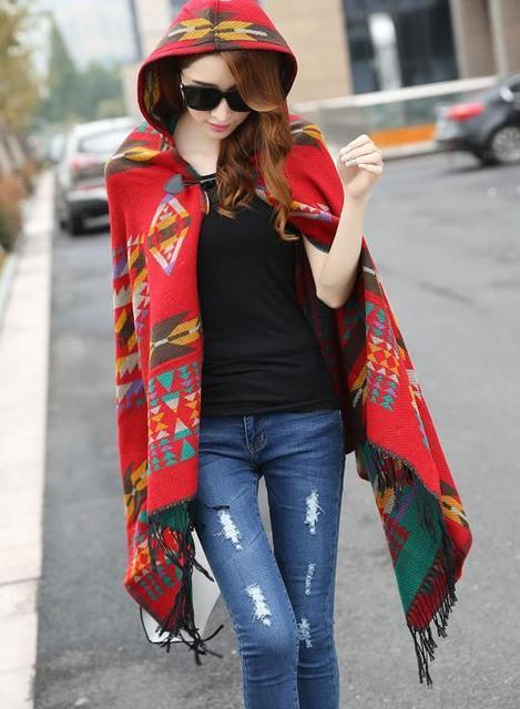 Nueva Franja de Moda Étnica Geométrica Mujeres Del Cabo Del Batwing Poncho Knit Top Cardigan Sweater Coat Hip Mantón de La Bufanda Envío Gratis