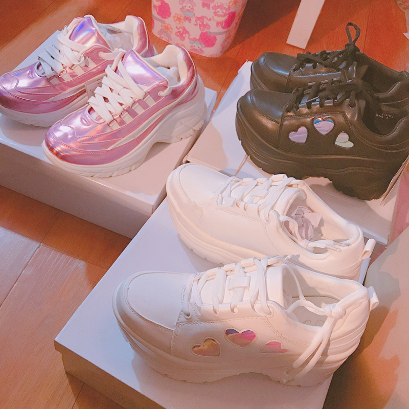 Japanese Lolita Heart High Heeled Sneakers 1