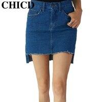 CHICD 2017 New Women Summer Style Fashion Blue Sky Blue Slim Pockets Button Denim High Waist