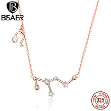 BISAER Leo Necklace 925 Sterling Silver Constellation Series Rose Gold Color Pendant Necklaces Women Sagittarius Aries GAN021(China)