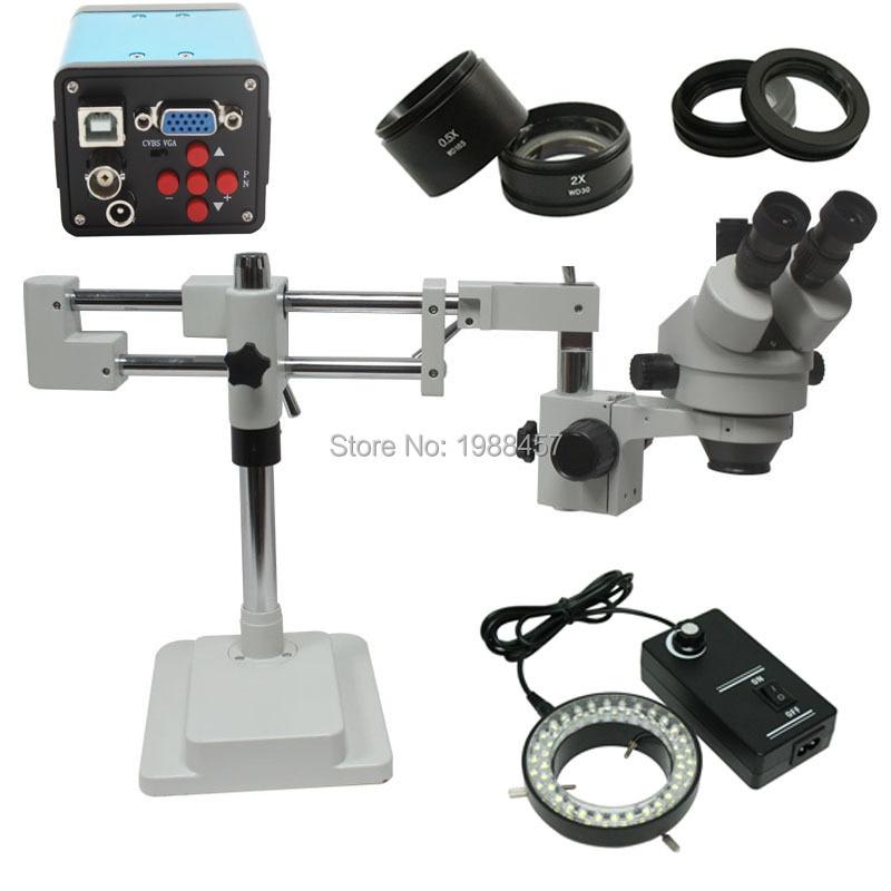 3.5x 90x arm frame stereo zoom microscope hd VGA USB AV camera 144 LED light