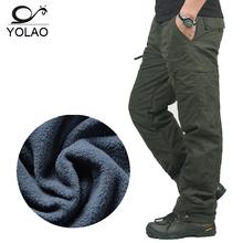 Marka YOLAO zima Podwójna warstwa mężczyźni Cargo Spodnie ciepłe baggy spodnie bawełniane Spodnie męskie męskie kamuflaż wojskowy taktyczne B02 tanie tanio Mężczyzn Pełna długość Połowie Polaru Luźne Y1007 Sukno Płaskie Poliester bawełna Spodnie cargo Skrzydła Casual