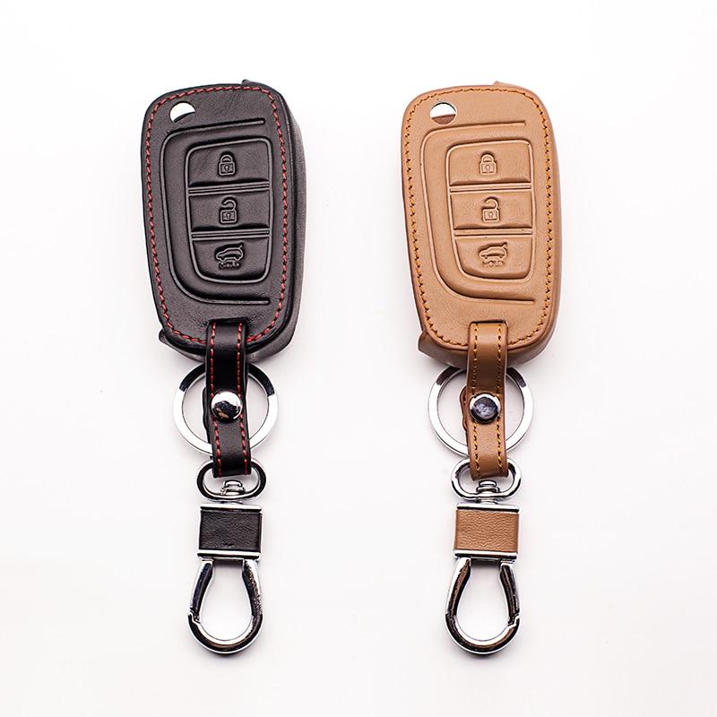 For Hyundai Verna Solaris 2017 Super Quality Black /brown Genuine Leather Remote Key Case Cover 3 button car keys accessories
