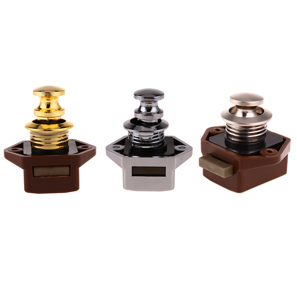 Hardware Mini Push Lock Knob Rv Lock Caravan Boat Motor Home Cabinet Wardrobe Cupboard Drawer Push Latch For Furniture Hardware