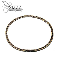 SIZZZ 2017 50CM Long High Polished Fashion Jewelry Titanium Steel Magnetic Necklace Black Plating For Men