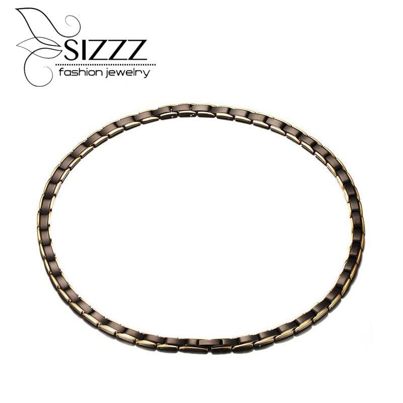 Sizzz 2017 50 см длинные полированный Модные украшения Титан стали магнитные ожерелье Черное покрытие для мужчин