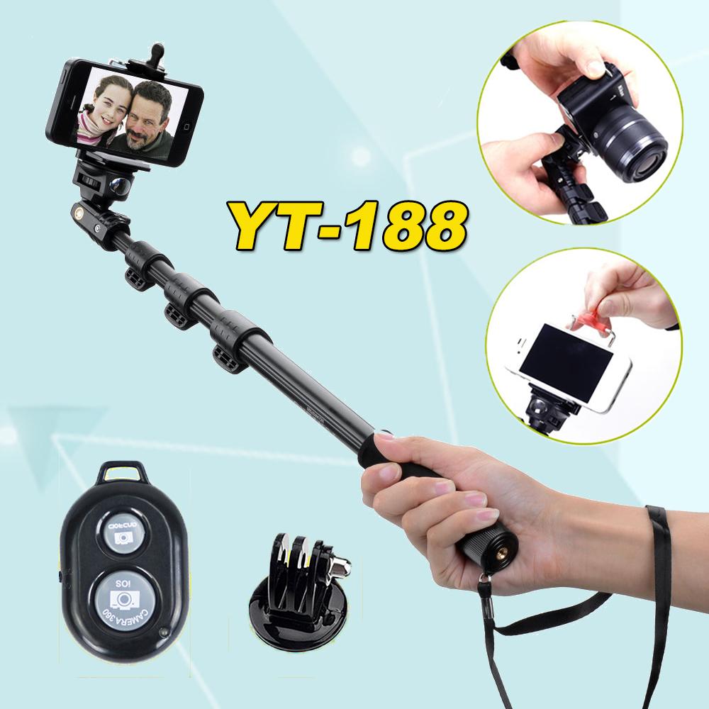 Prix pour Yunteng 188 Portable Extensible Handheld Télescopique Manfrotto YT-188 Pour Gopro Hero 4 3 + 3 2 1 Caméras Téléphones Cellulaires puls 7 s xiaomi