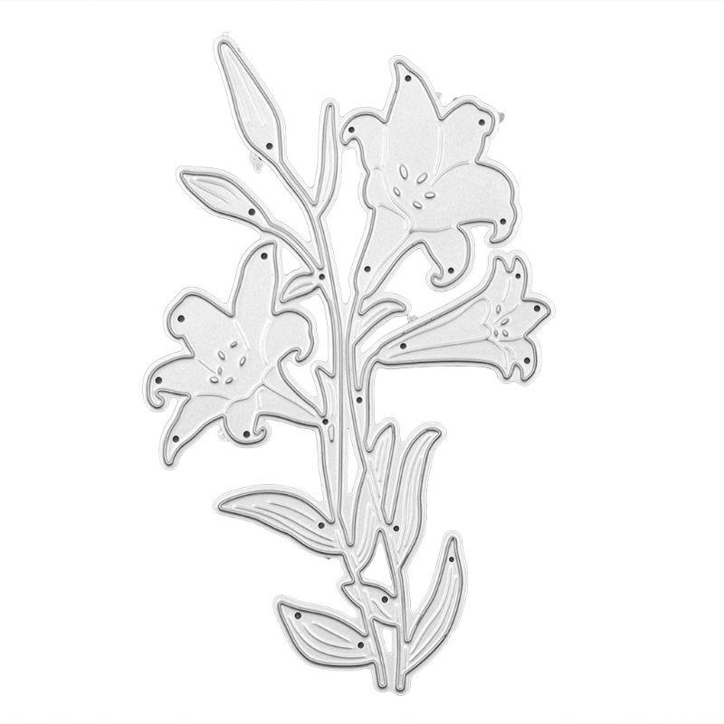 OOTDTY Lily Flower Metal Cutting Dies Stencil DIY Scrapbooking Album Stamp Paper Card Embossing Crafts Decor