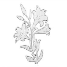 OOTDTY Lily Flower Metal Cutting Dies Stencil DIY Scrapbooking Album Stamp Paper Card Embossing Crafts Decor