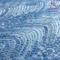 La Belleza 1 yard sky Blue beaded lace fabric,fashion style lace, evening/wedding dress handmade beaded lace fabric 51'' width