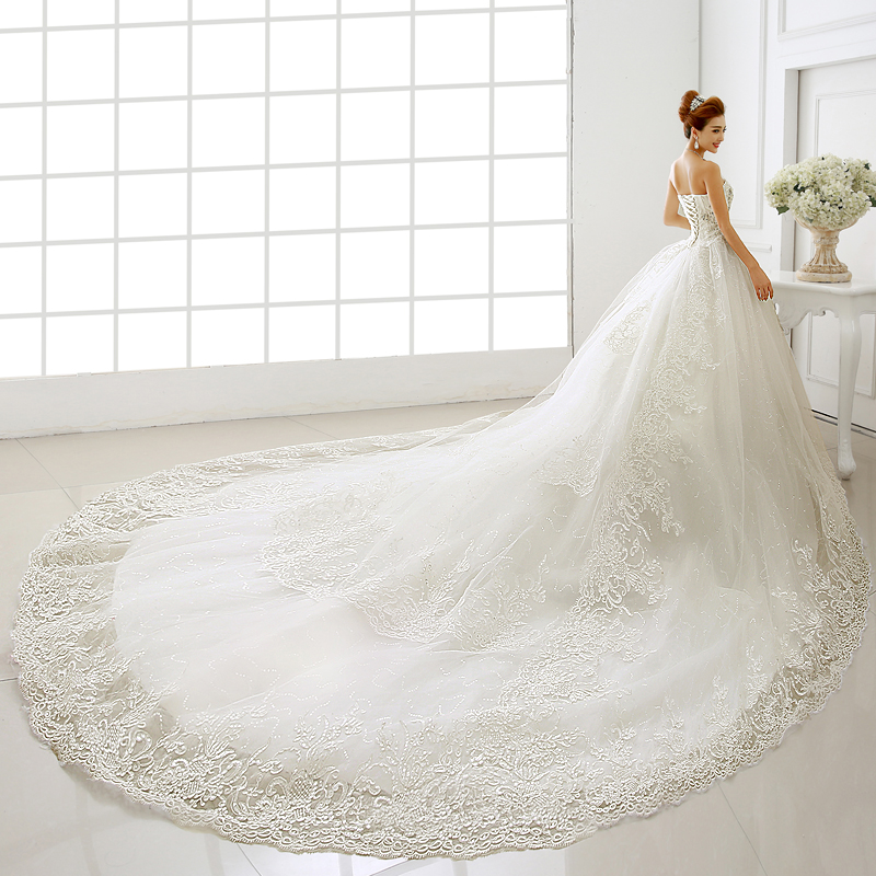 Cathedral Length Train Wedding Gowns: Wedding Dresses 2016 Bride Tube Top Cathedral Royal Train