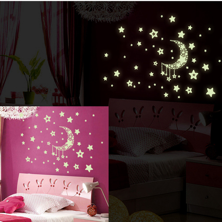 1 Set Moon Star Glow In The Dark Toys Stickers Luminous DIY Kid Bedroom PVC Sticker Home Toys For Children Kids Christmas Gift
