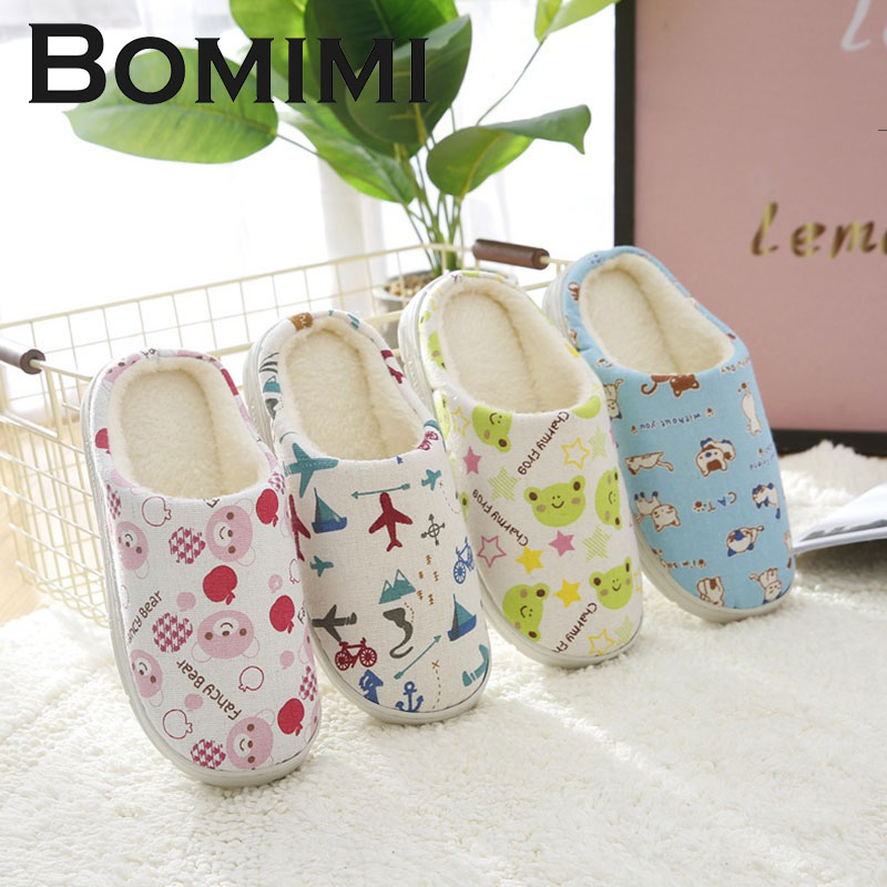 BOMIMI Children Slippers Kids Cotton Slippers Boys GirlsNon-slip Soft Winter Warm  Indoor Bedroom Floor Shoes EYU564