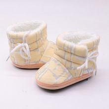 Baby Girl Shoes Print Winter Boots Warm Fur Snow Boot Infant Toddler First walkers Child Crib Soft Sole Shoes(China)