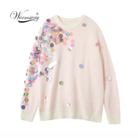 Spring Beading Sequins Loose Knitted Sweaters Women 2019 Fashion Long Sleeve Ladies thin Pullovers Casual Jersey Mujer C 058
