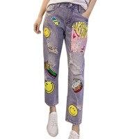 Europa Wiosna Zastrzelony Luźne Kod Żebrak Haren Spodnie Jeansowe Żeńskie Proste piękny słodki uśmiech kreskówki ziemniaków chips Spodnie jeans
