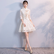 2018 new cotton linen qipao dress traditional chinese folk style improved plate buckle printing a line cheongsams dresses