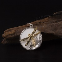 S925 Sterling Silver 925 Vintage Leaf Dragonfly White Ceramic Round Pendant Necklace for Women Simple Design Female Antique Gift