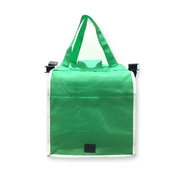 07af0ec37 10PCS Lot Wholesale Reusable Shopping Bags Large Trolley Clip-To-Cart Bag  Grocery Portable Green Bag Foldable Tote Handbags