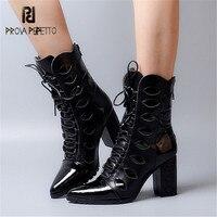 Prova Perfetto черный Женские полусапожки из натуральной кожи Острый носок на высоком массивном каблуке на шнуровке Botas Высокие сапоги Для женщин