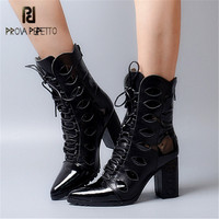 Prova Perfetto Black Genuine Leather Women Ankle Boots Pointed Toe Chunky High Heel Botas Lace Up High Boots Women Pumps