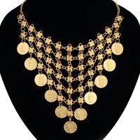 Goldmünze Halskette Frauen Schmuck Großhandel Gold Farbe Ziemlich Vintage Ethnic Erklärung Big Anhänger Kragenchoker Münze Halskette