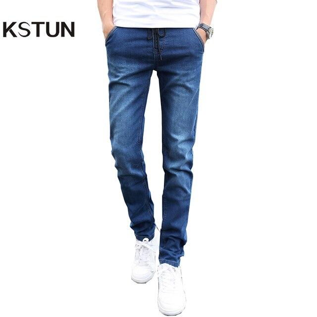58f4b623637 KSTUN Skinny jeans men Drawstring Slim Fit Denim Joggers Stretch Male Jean  Pencil Pants Blue Men s jeans fashion Casual Hombre